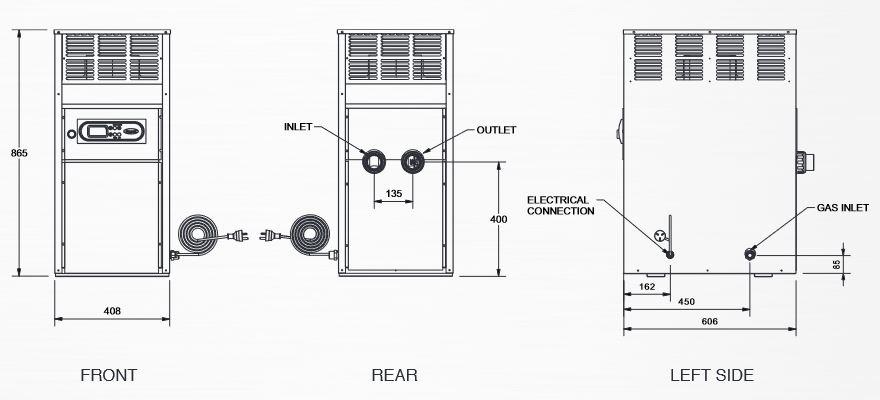 Raypak Spartan gas Heater Dimensions