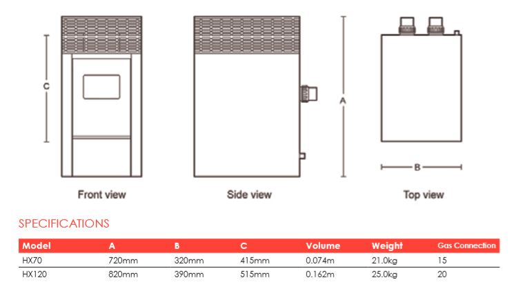 hx heater specifications