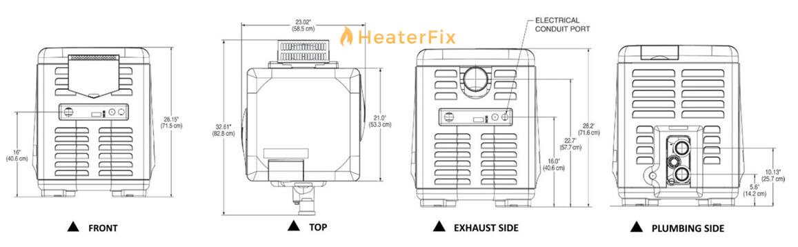 mastertemp-300-pool-heater-dimensions