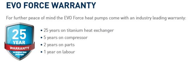 evoheat force warranty