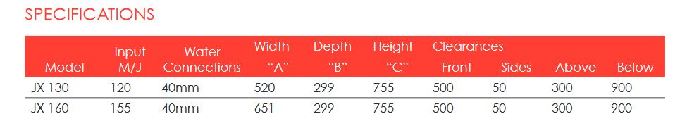 jx heater specifications
