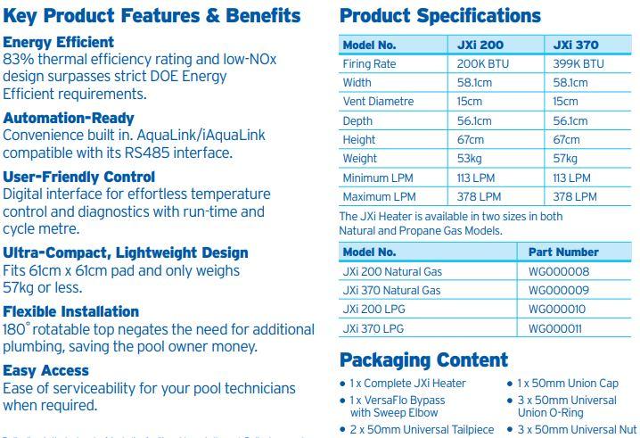 Zodiac JXI Gas Pool Heater Specifications