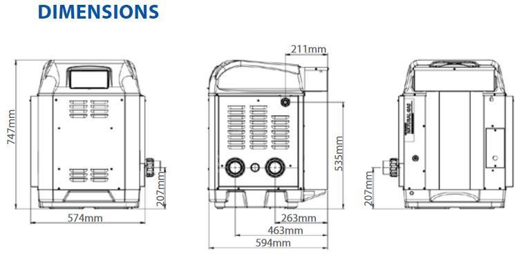 ICI gas pool heater dimensions